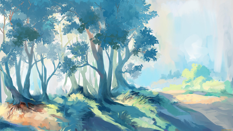 картинки лесной пейзаж рисунок погрузили